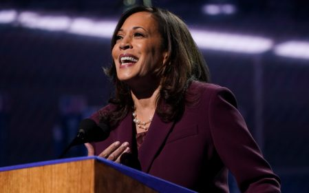 U.S. Senator Kamala Harris accepts the Democratic vice presidential nomination